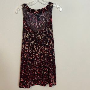 INC animal print sleeveless top with beading